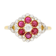 Victorian Diamond and Ruby Daisy Cluster Ring, circa 1880s