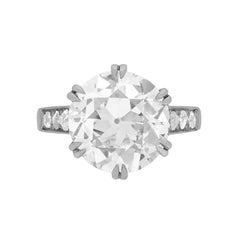 Art Deco 5.28 Carat Diamond Solitaire Engagement Ring c.1920s
