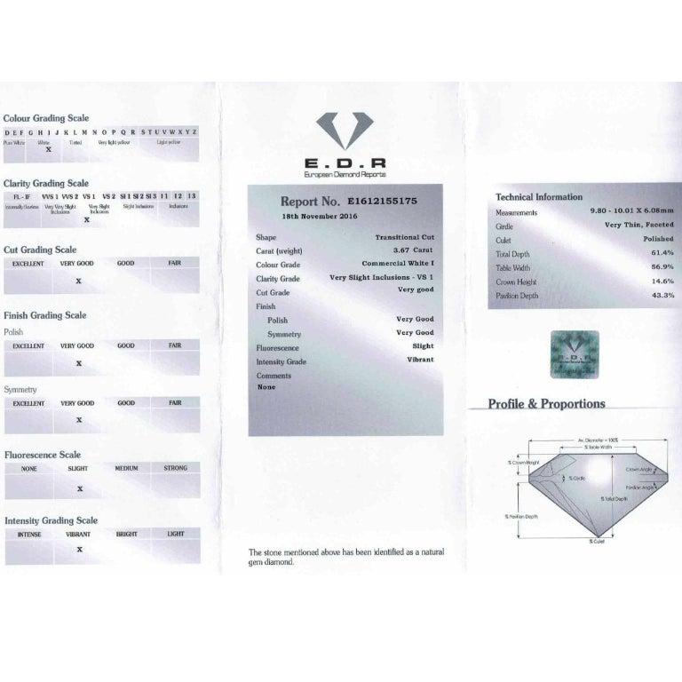 Women's or Men's Art Deco EDR Certified 3.67 Carat Transitional Cut Diamond Engagement Ring For Sale