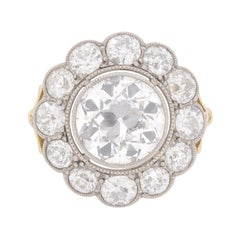 Edwardian 6.30 Carat Old Cut Diamond Cluster Ring c.1910s