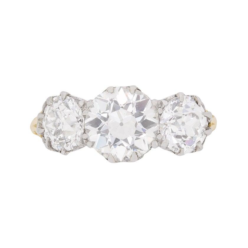Victorian 3.80 Carat Three Stone Old Cut Diamond Ring c.1880s