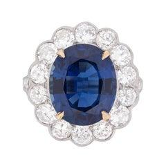 Certified 7.10 Carat Sapphire & 2.40 Carat Diamond Halo Ring c.1940s