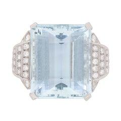 34.15 Carat Aquamarine and Diamond Ring, c.1940s