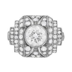 5.00 Carat Vintage Art Deco Style Diamond Ring, c.1950s