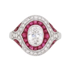 Vintage Diamond and Ruby Bombé Style Ring, c.1940s