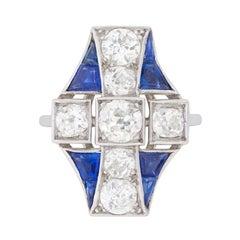 Art Deco 2.40 Carat Diamond and Sapphire Dinner Ring, circa 1920s