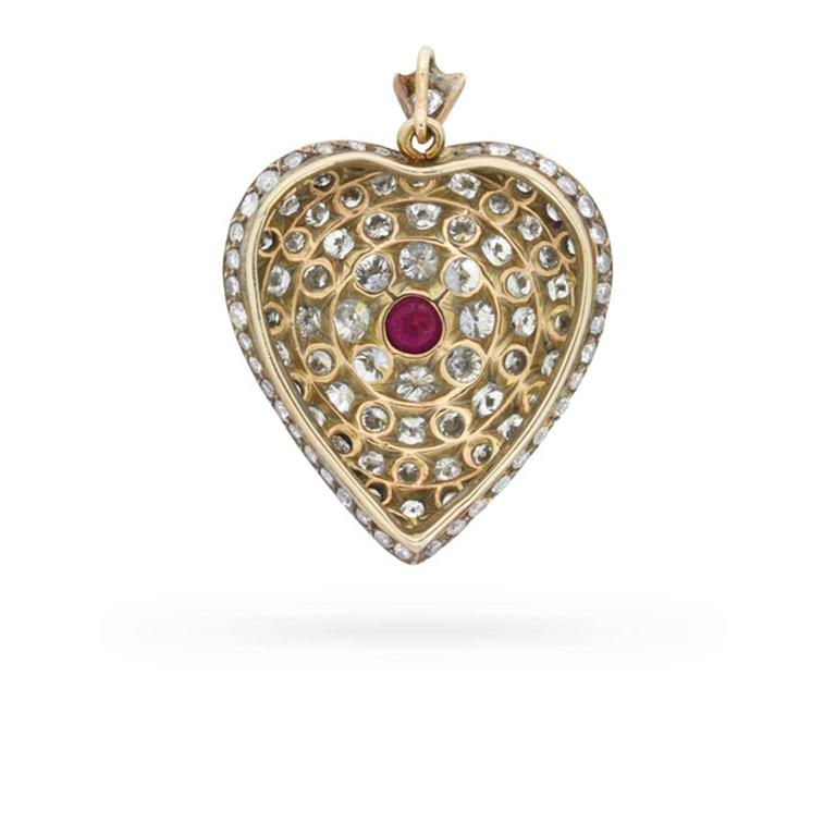 Vintage heart shaped diamond and ruby pendant circa 1940s at 1stdibs vintage heart shaped diamond and ruby pendant circa 1940s in excellent condition for sale aloadofball Images