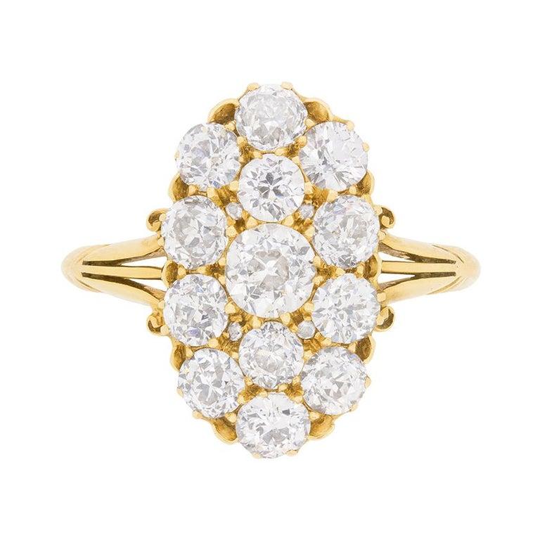 Victorian 3.40 Old Cut Diamond Cluster Ring, circa 1880s
