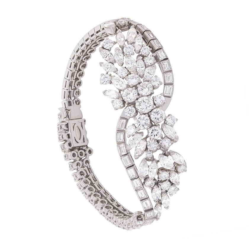 Vintage 16.00 Carat Diamond Cluster Bracelet, circa 1950s