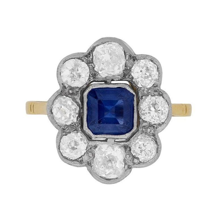 Art Deco Asscher Cut Sapphire Diamond Ring circa 1920s