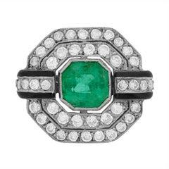 Vintage Emerald, Diamond and Black Enamel Cluster Ring, circa 1950s