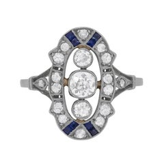 French Diamond and Sapphire Dinner Ring, circa 1920s
