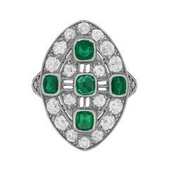 Art Deco Emerald Diamond Dinner Ring, circa 1920s