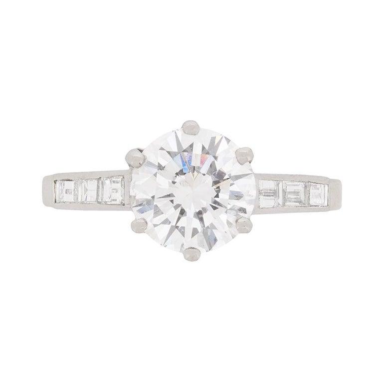 1940s GIA Certified 2.01 Carat Diamond Engagement Ring