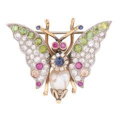Vintage Multi-Gem Butterfly Brooch, circa 1930s
