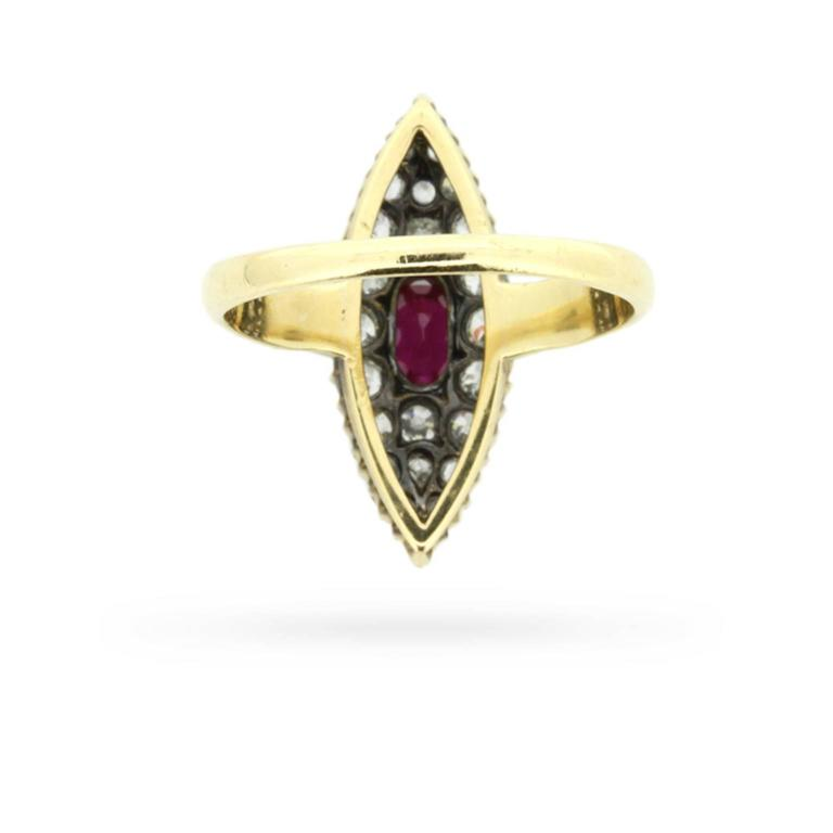 Marquise Cut Victorian Marquise-Shaped Ruby and Diamond Cluster Ring, circa 1890s For Sale