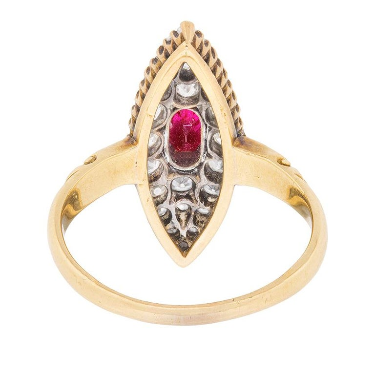 Victorian Marquise-Shaped Ruby and Diamond Cluster Ring, circa 1890s In Excellent Condition For Sale In London, GB
