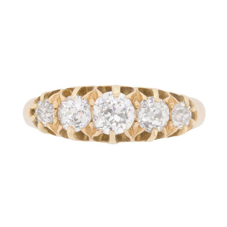 Late Victorian 1.45 Carat Old Cut Five-Stone Diamond Ring, circa 1900s