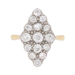 Late Victorian Marquise-Shaped Old Cut Diamond Cluster Ring, circa 1900s