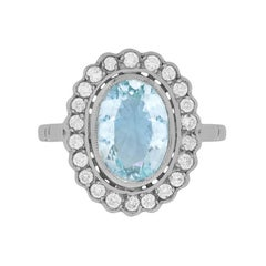 3.00 Carat Aquamarine and Diamond Halo Ring, circa 1950s