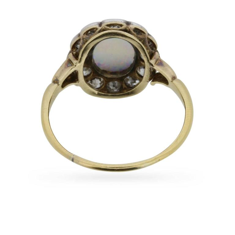 Victorian Opal and Old Cut Diamond Ring, circa 1880s 4