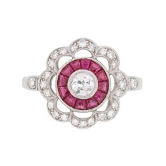 Victorian-Inspired Diamond and Ruby Daisy Cluster Ring
