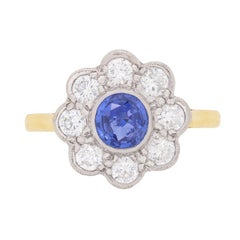 Vintage Sapphire and Diamond Flower Cluster Ring, circa 1970s
