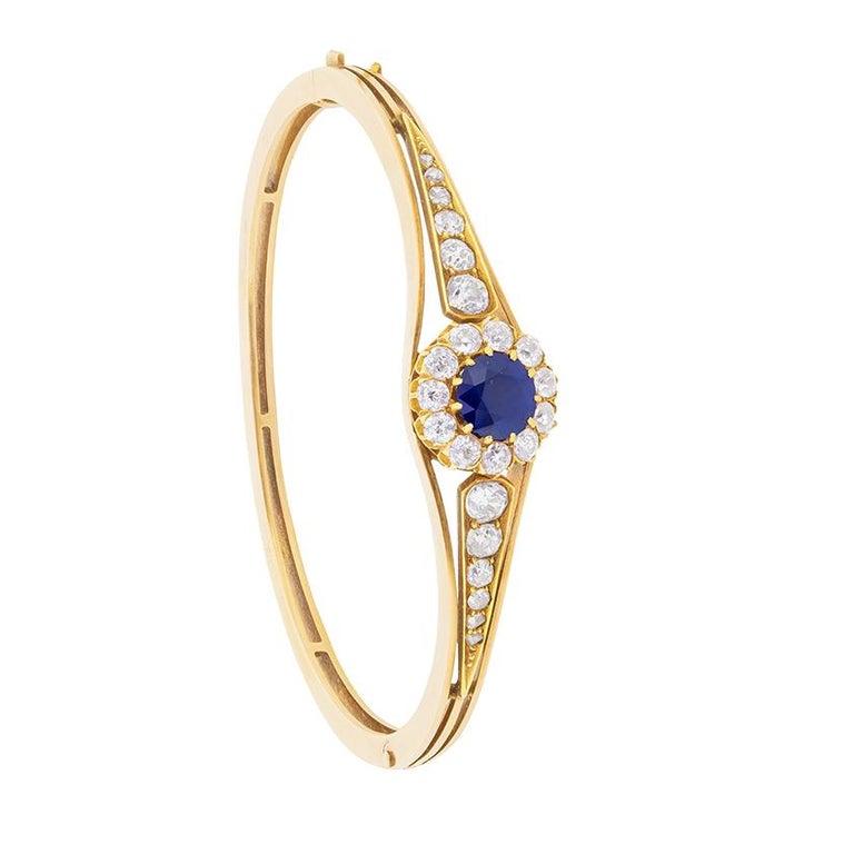 Late Victorian Sapphire and Diamond Bangle Bracelet, circa 1900s For Sale
