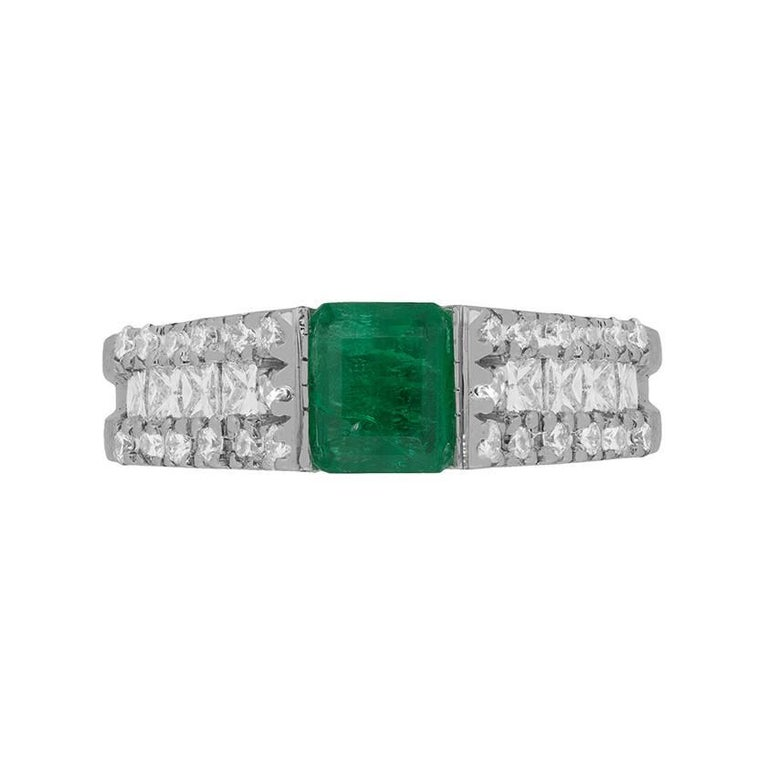 Emerald and Diamond Ring, circa 1980s