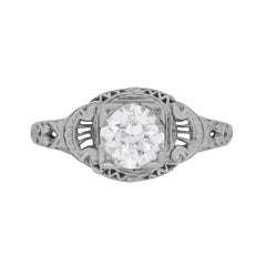 Antique 0.90 Carat Old Cut Diamond Ring in an Engraved Setting, circa 1920s