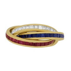David Morris Diamond, Sapphire and Ruby Tri-Band Ring, circa 1996