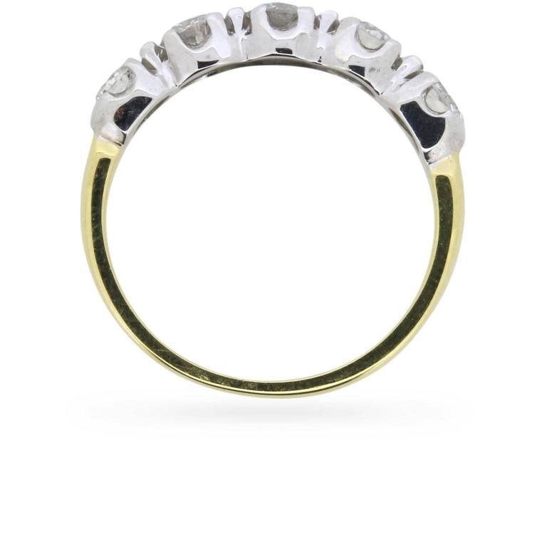 Vintage Five-Stone Round Brilliant Cut Diamond Ring, circa 1980s 2