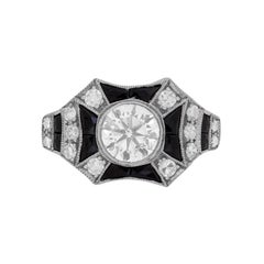 Art Deco Inspired Diamond and Onyx Ring, circa 1940s