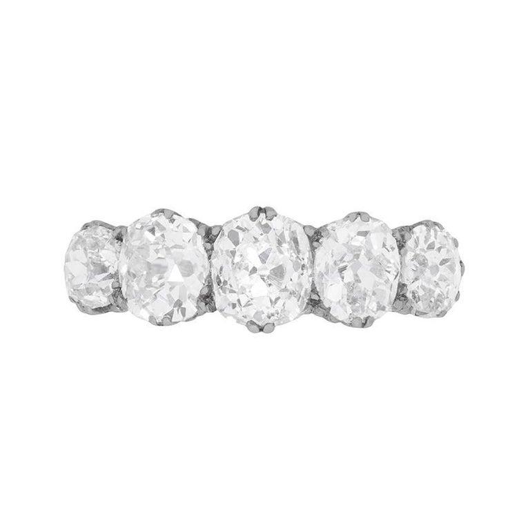 Late Victorian 3.50 Carat Old Cushion Cut Diamond Five-Stone Ring, circa 1900s