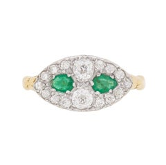 Antique Old Cut Diamond and Emerald Cluster Ring, circa 1900s