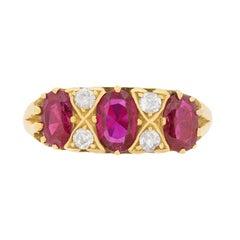 Vintage Ruby and Diamond Ring, circa 1970s