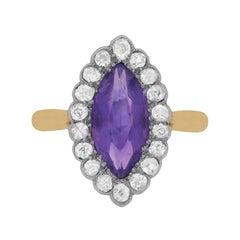 Art Deco Amethyst and Diamond Ring, circa 1920s