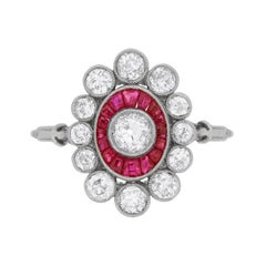 Art Deco Diamond and Ruby Cluster Ring, circa 1920s