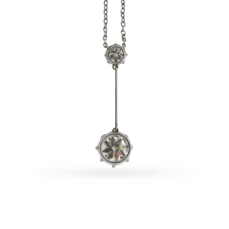 Art Deco Solitaire Diamond Necklace, circa 1920s 3