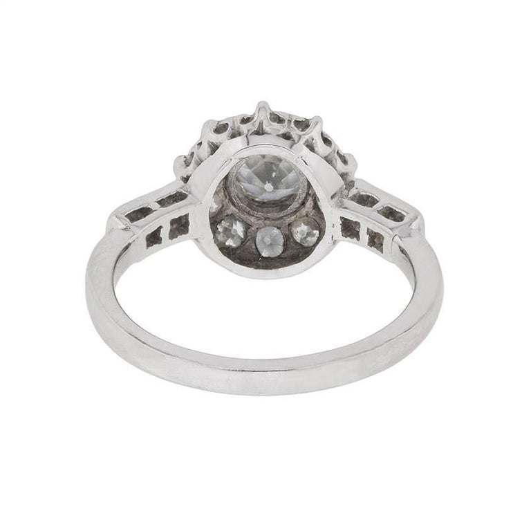 Women's or Men's Early Art Deco Diamond Halo Cluster Ring, circa 1920s For Sale