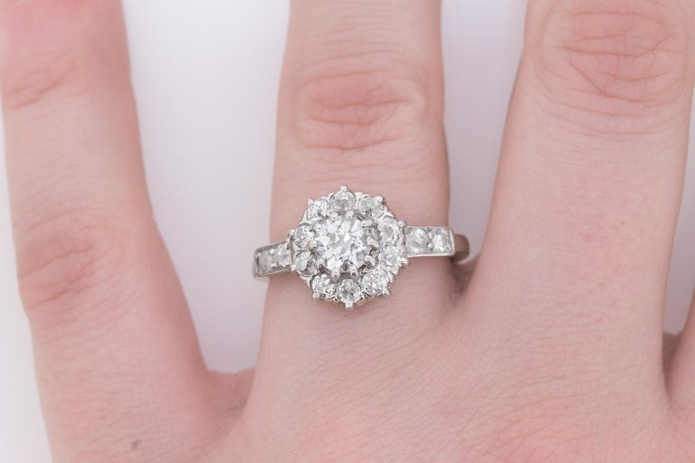 Early Art Deco Diamond Halo Cluster Ring, circa 1920s For Sale 1