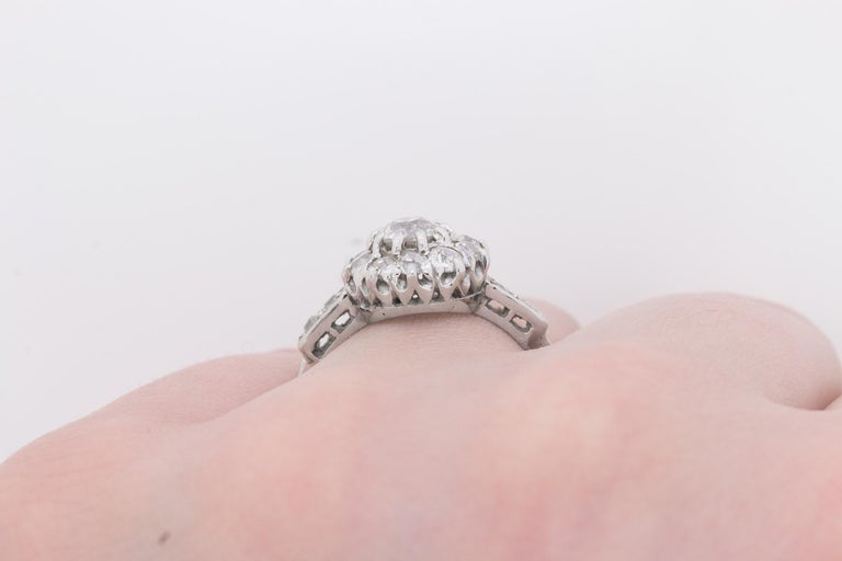 Early Art Deco Diamond Halo Cluster Ring, circa 1920s For Sale 2