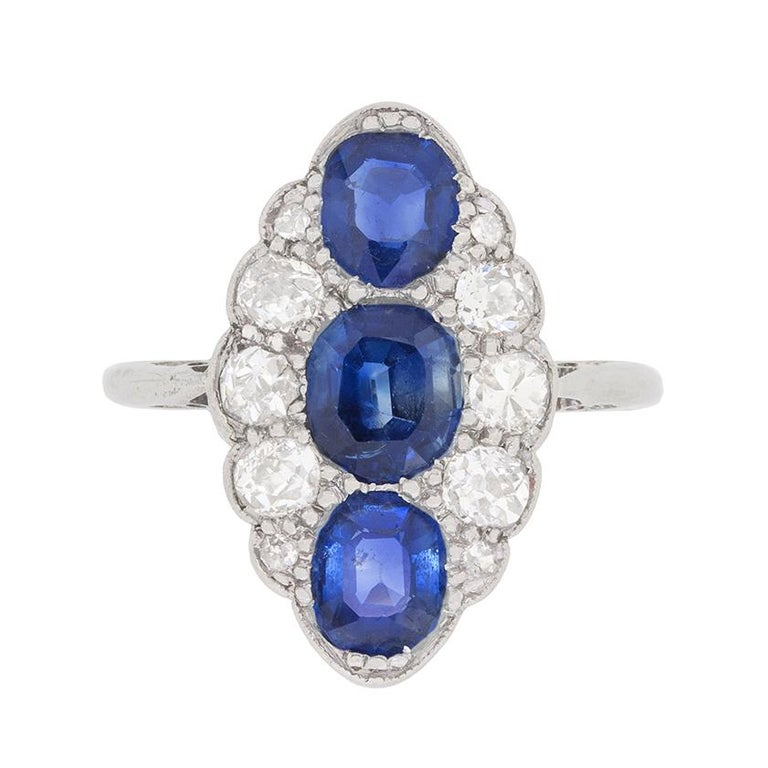 Early Art Deco Sapphire and Diamond Cluster Ring, circa 1920s
