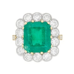 Vintage Emerald and Diamond Cluster Ring, circa 1940s