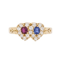 Victorian Diamond, Sapphire and Ruby Heart Ring, circa 1890s