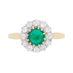 Edwardian Emerald and Diamond Cluster Ring, circa 1910