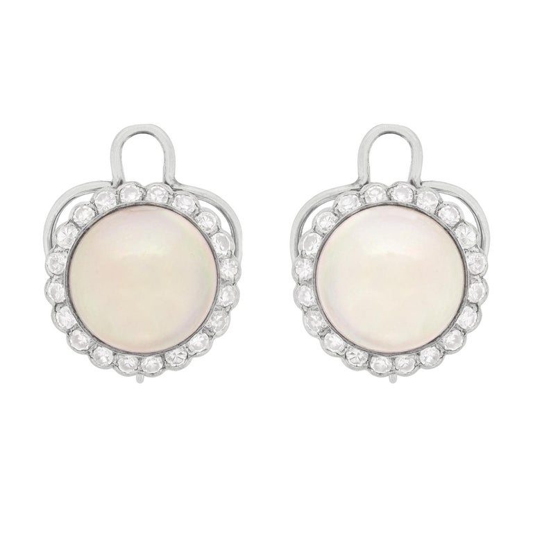 Art Deco Pearl And Diamond Cer Clip On Earrings Circa 1920s For