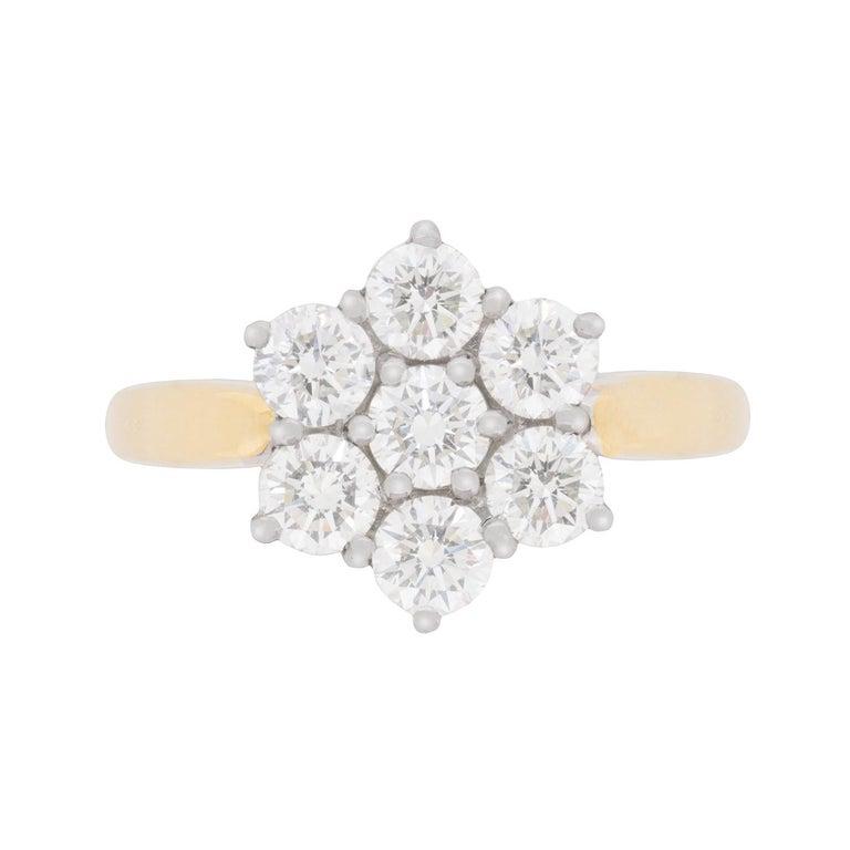 Vintage Flower Diamond Cluster Ring, circa 1970s