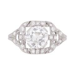 Art Deco 1.35 Carat Diamond Cluster Engagement Ring, circa 1920s