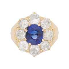 Victorian Sapphire and Diamond Cluster Ring, circa 1900s